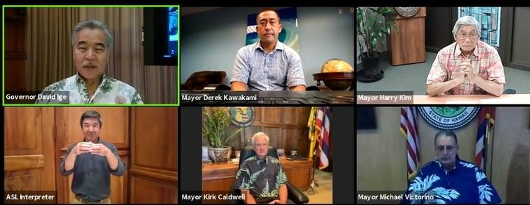 Gov. David Ige holds a Zoom session with county mayors Thursday. (Screen capture/Courtesy)